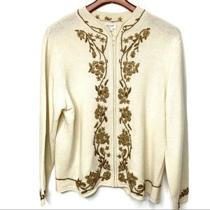 COLDWATER CREEK Embroidered Wool Sweater Cream XL